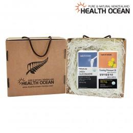 (선물세트) 헬스오션 녹색입홍합,글루코사민 복합제품 180캡슐 + 헬스오션 뉴질랜드 달맞이꽃종자유 150캡슐