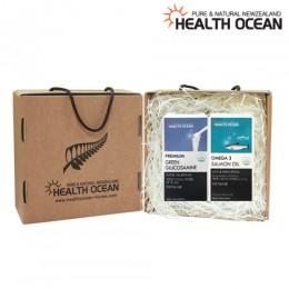 (선물세트) 헬스오션 녹색입홍합,글루코사민 복합제품 180캡슐 + 헬스오션 연어유 오메가3 150캡슐