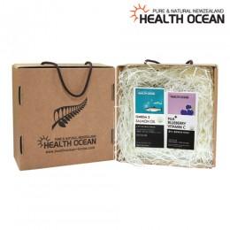 (선물세트) 헬스오션 플러스 블루베리맛 비타민C + 헬스오션 연어유 오메가3 150캡슐