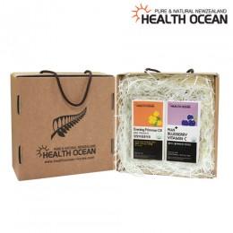 (선물세트) 헬스오션 플러스 블루베리맛 비타민C + 헬스오션 뉴질랜드 달맞이꽃종자유 150캡슐