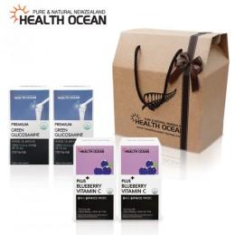 (선물세트) 헬스오션 플러스 블루베리맛 비타민C 2통 + 헬스오션 녹색입홍합,글루코사민 복합제품 180캡슐 2통