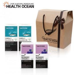 (선물세트) 헬스오션 플러스 블루베리맛 비타민C 2통 + 헬스오션 연어유 오메가3 150캡슐 2통