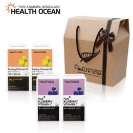 (선물세트) 헬스오션 플러스 블루베리맛 비타민C 2통 + 헬스오션 뉴질랜드 달맞이꽃종자유 150캡슐 2통