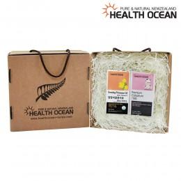 (선물세트) 헬스오션 뉴질랜드 달맞이꽃종자유 150캡슐 + 헬스오션 프리미엄 초유정제 120정
