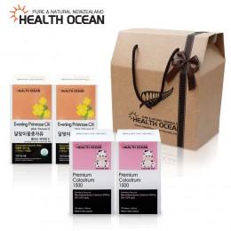 (선물세트) 헬스오션 뉴질랜드 달맞이꽃종자유 150캡슐 2통 + 헬스오션 프리미엄 초유정제 120정 2통