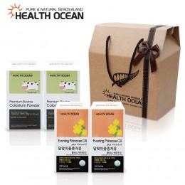 (선물세트) 헬스오션 뉴질랜드 달맞이꽃종자유 150캡슐 2통 + 헬스오션 프리미엄 초유분말 100g 2통